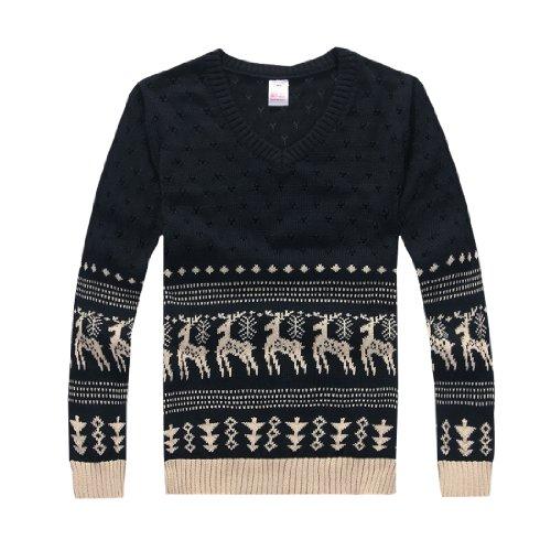 Allegra K Men 2012 Cut Out Hole Design Deers Pattern Sweater Dark Blue S