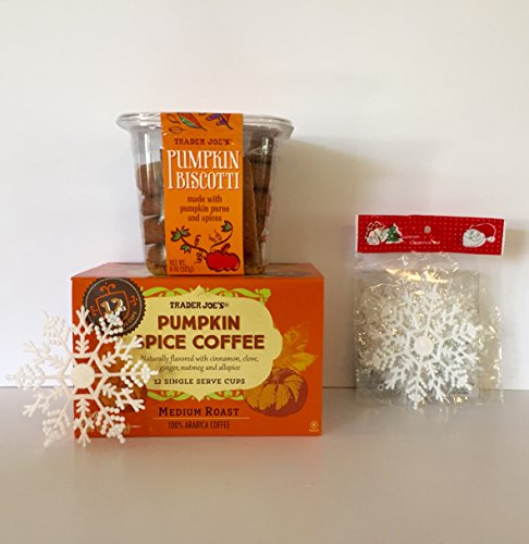 Trader Joe's Pumpkin Biscotti and Trader Joe's Pumpkin Spice Medium Roast Coffee K-Cups (12) + Free Set of 12-Xmas Snowflakes and More. The Perfect Pumpkin Bundle(3 Items) (Trader Joes Truffle Salt compare prices)