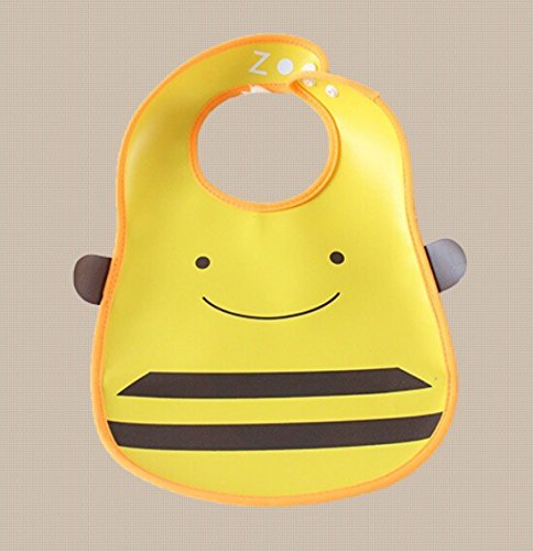 Pumud Cute Cartoon Animal Toddler Baby Waterproof Feeding Lunch Bibs (Bee) - 1
