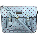 Sara Vintage Style Polka Dot School Satchel - Pastel Blue with Dim Pink Dots -- SwankySwans