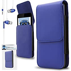 iTALKonline HTC One SC Blue PREMIUM PU Leather Vertical Executive Side Pouch Case Cover Holster with Belt Loop Clip and Magnetic Closure Includes Blue Premium 3.5mm Aluminium High Quality In Ear Stereo Wired Headset Hands Free Headphones with Built in Mic Microphone and On Off Button