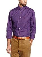 Cortefiel Camisa Hombre Twill Vichy Color T-Bd (Morado)