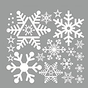 5PCS/LOT Christmas white Snowflakes Sticker Windows Glass cabinet Wall stickers Year home decoration Wall Stickers Wallpaper by UMISSDECOR