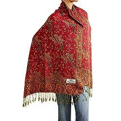 Falari Womens Woven Pashmina Shawl Wrap Scarf 80 X 27 Red