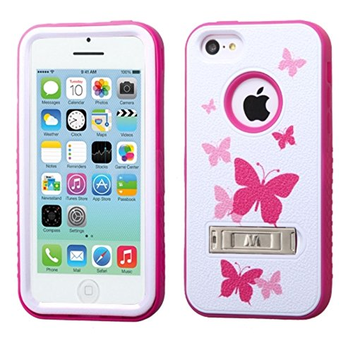 MyBat VERGE Hybrid Protector Cover with Stand for  Apple iPhone 5/5s - Retail Packaging - Butterfly Dancing/Hot Pink