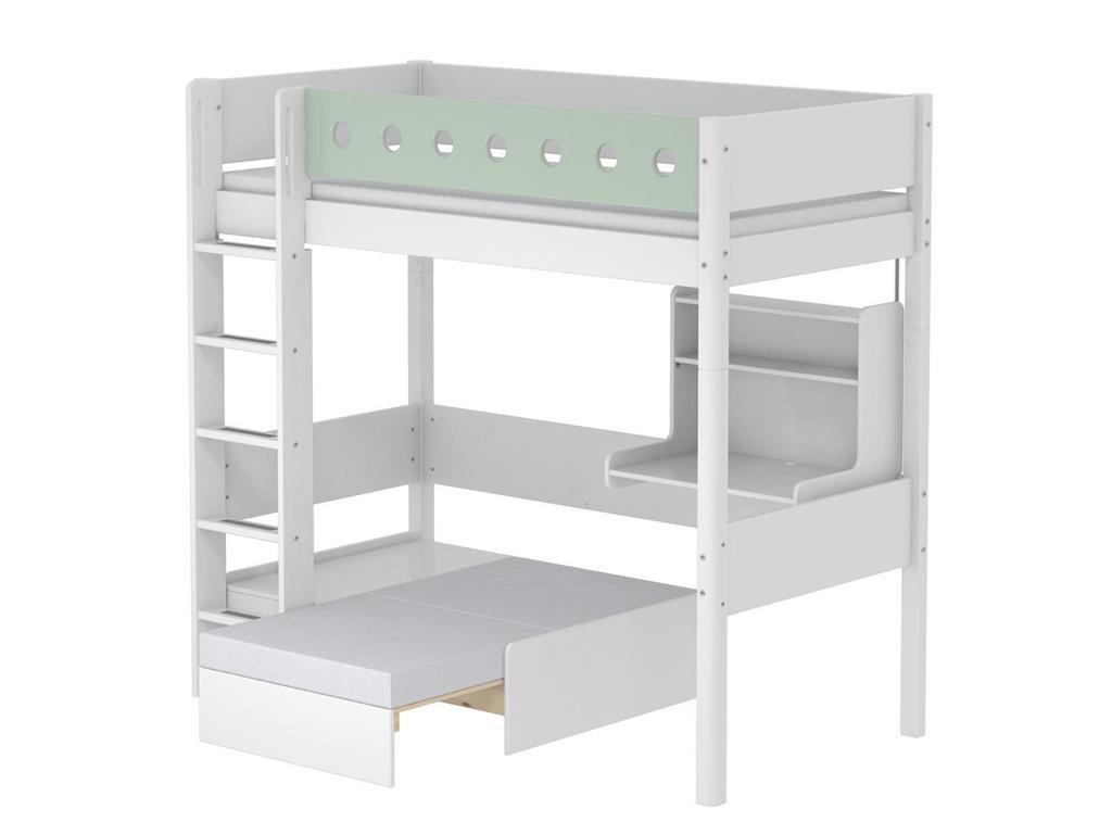 Hochbett Casa Weiß mit Gerader Leiter und Schreibtisch, 90x190cm, Flexa White kaufen