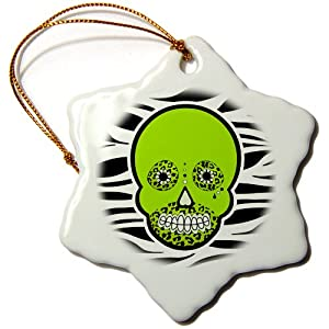 3dRose orn_35550_1 Day of The Dead Skull Dia de los Muertos Zebra and Leopard Animal Print Green Snowflake Porcelain Ornament, 3-Inch