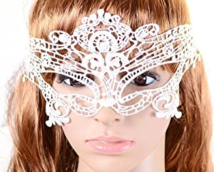 Summersha Sexy Lace Halloween Eye Mask for Masquerade Party (white)