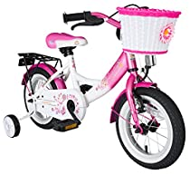Bikestar 12 inch (30.5 cm) Kids Childrens Girls Bike Bicycle - Classic - Pink / White