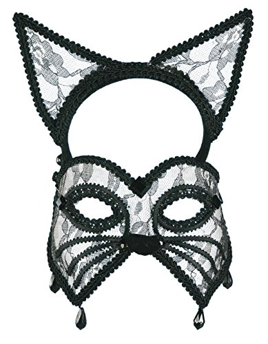 Forum Novelties Women's Lace Cat Mask and Headband
