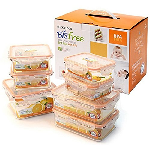 Lock & Lock Bisfree Airtight Rectangular Stackable Container 7pcs Set (Eco 3) - 1