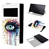 ivencase View Window Painting Art Colorful Eyes Style Design PU Leather Flip Stand Case Cover for Sony Xperia Z2