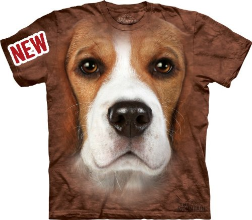 Mountain Beagle Face Adult Size T-shirt , Brown , X-Large