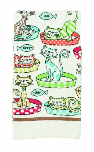 Ritz 13534 Kitchen Wears Print Velour Kitchen Towel, Cat's Pajamas