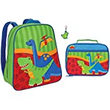 Stephen Joseph Boys Dinosaur Backpack and Lunch Box with T-Rex Zipper Pull - Kids Backpacks
