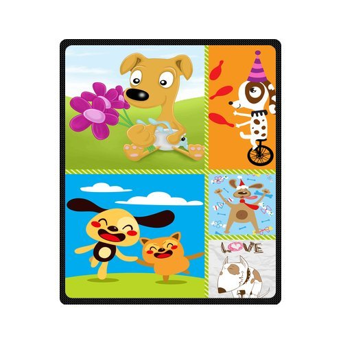 "Personalized Cute Dogs Jigsaw Blanket 50""X 60""(Medium) front-841395"