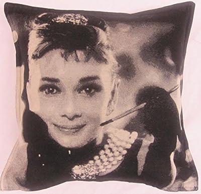 Kissenüberzug Audrey Hepburn Schwarz Weiß Baumwolle 45cm Für Dicke Kissen