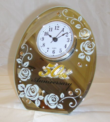 50th Golden Wedding Anniversary Clock. Perfect 50th Golden Wedding Anniversary Gift 50th Golden Wedding Aniiversary Gifts