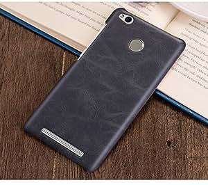 SDO™ Premium Cowboy Series Leather Design Hard Back Case Cover for Xiaomi Redmi 3S Prime with Fingerprint Cutout (Black)