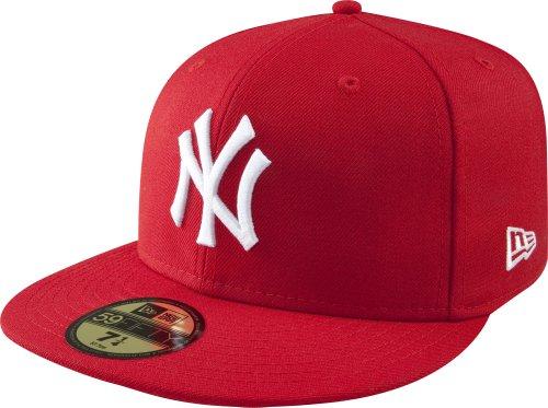 New Era Erwachsene Baseball Cap Mütze Mlb Basic NY Yankees 59Fifty Fitted, Scarlet/White, 7 1/2, 10011573