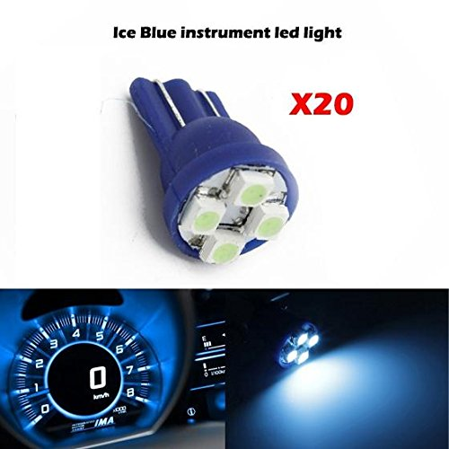 Partsam 20pcs Ice Blue T10 PC194 168 LED Light Bulb 4-SMD Instrument Panel Cluster Speedometer Odometer Gauges Dash Lighting Indicator Lamps (Toyota Odometer compare prices)