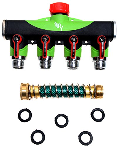RAAYA 4 Way Hose Splitter With Short Garden Coil Hose Arthritis Friendly leak-proof Water Splitter Quick Switch Connector Ball Valve Rubber Washers Ultra High Flow at Four Outlets One Year Warranty (3 4 Valve Timer compare prices)