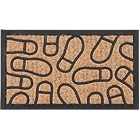 ラバー&コイヤー マット フットプリント (サイズ:60x35cm) 玄関マット 天然素材 屋外マット 30194