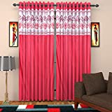 Micasa 2 Piece Polyester Door Curtain - 9ft, Red