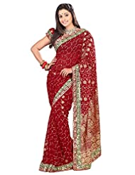 Designer Divine Maroon Colored Embroidered Faux Georgette Saree By Triveni