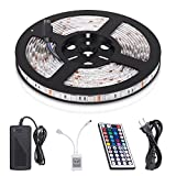 StripSun LED Strip Lights SMD 5050 Waterproof 16.4ft 5M 300leds RGB Color Changing Flexible LED Rope Lights with 44Key Remote +12V 5A Power Supply +IR Control Box