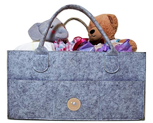 Fier Co Baby Diaper Caddy Organizer [14'' x 10'' x 7''] | Portable Nursery Storage w/Spacious Pockets & Main Compartments | Thick Felt Material &Large Capacity Basket for Toys, Towels & More