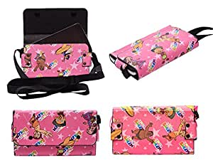 Colorkart Printed Mobile Pouch Handbag With Adjustable Strip For Lenovo P70 Mobile Phone (Pink)