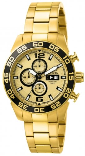 Invicta Men's Quartz Watch with Gold Dial Chronograph Display and Gold Stainless Steel Plated Bracelet 1016