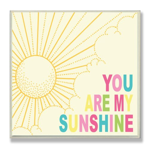 The Kids Room by Stupell You are my Sunshine Rainbow Typography Square Wall Plaque