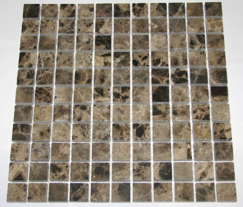 "1x1 Dark Emperador Marble Polished Mosaics Meshed on 12"" X 12"" Tiles for Bathroom Flooring, Kitchen Backsplash, Shower Walls"