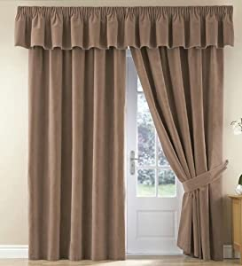 """Thermal Velour Velvet Curtains Finished In Camel 90"""" Wide x 72"""" Drop"""