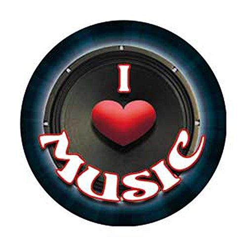 """I Love Music Speaker - Music Themed - Pinback Button 1.25"""""""