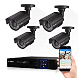 FREDI CCTV KIT 4CH AHD 720P 1MP DVR Video Surveillance System Indoor/outdoor Bullet Camera Home Security Camera System IR Night Vision/Motion Detection/Loop Video NO HDD(KIT 6104-4ch-AHDkit)