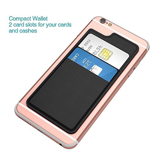 dodocool  iPhone ケース カード収納付け 収納ポケット 背面ポケット ステッカーポケット 各社スマートフォン対応 (黒)