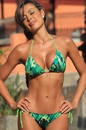 A229 Neon Camo Colombian Tie TOP ONLY Size: M bikini top