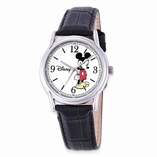 Disney Adult Size Black Leather Strap Mickey Mouse Watch