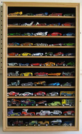 Hot Wheels Matchbox 1/64 scale Diecast Display Case Cabinet Wall Rack w/UV Protection (HW04-OAK)