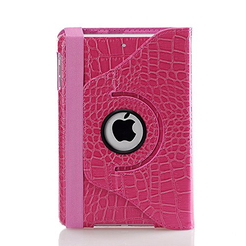 iPad mini Case - Nozza® iPad mini 3 / iPad mini 2 / iPad mini Case, 360 Degree Rotating Multi-Angle Stand Smart Cover with Auto Wake/Sleep Feature Crocodile Hot Pink