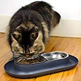Hepper Nomnom Modern Cat and Dog Dish with Stainless Steel Bowls. Wide Tray to Keep Floors Clean and Ants Out of the Food! Color Grey