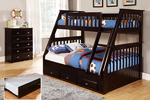 Discovery World Furniture Twin over Full Bunk Bed with Twin Trundle, Espresso (Espresso Bed Twin compare prices)