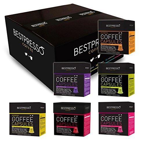 Nespresso Compatible Gourmet Coffee Capsules - 120 Pod Variety Pack - for Original Line Nespresso Machine - Bestpresso Brand Certified Genuine Espresso - 60 Days Satisfaction Guarantee (Nespresso K Cups compare prices)