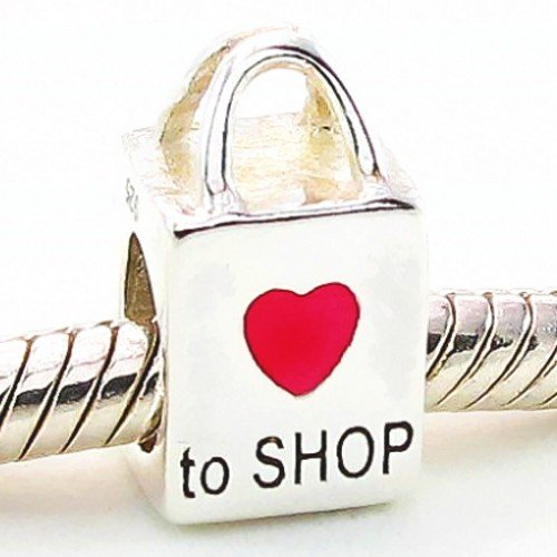 51ltYwpSp6L I Love Shopping Adore to Shop Charm Red Enamel Heart 925 Solid Sterling Silver Bag Bead