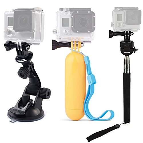 Tekcam Accessories Kits Bundle for Gopro Hero/DBPOWER/Lightdow/GeekPro/ANART Action Camera included Car Suction Cup Floating Mount and Tripod