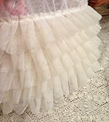 Ivory Ruffled Lace Trim , Pleated Trim Lace for Wedding Dress Doll Dress Wedding Cake Decor (Ivory)