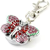 Youyoupifa Gorgeous Key Chain Ring With Butterfly Pendent Pocket Quartz Watch (Pink)